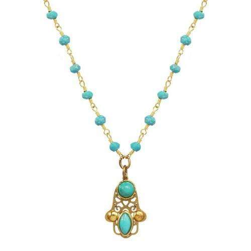 Michal Golan Small Turquoise Hamsa Necklace