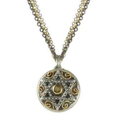 Michal Golan Small Two Tone Star of David Triple Chain Necklace