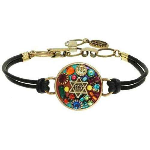 Michal Golan Star of David Leather Bracelet with Multi-Colored Mosaic