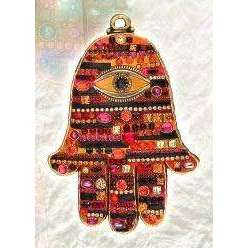 Michal Golan Swarovski Crystal Wall Hamsa in Autumnal Shades