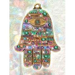 Michal Golan Swarovski Crystal Wall Hamsa in Spring Shades