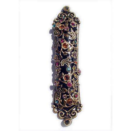 Michal Golan Swarovski Crystals on Black Mezuzah