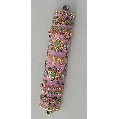 Michal Golan Swarovski Crystals on Pink Mezuzah