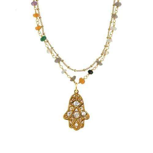 Michal Golan Swirling Gold Patterned Hamsa Necklace