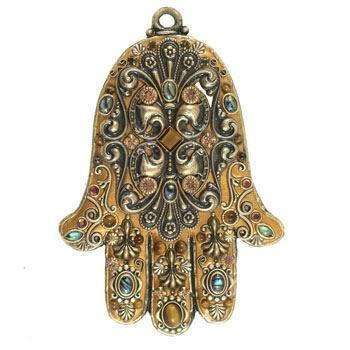 Michal Golan Tiger Eye and Abalone Shell Wall Hamsa