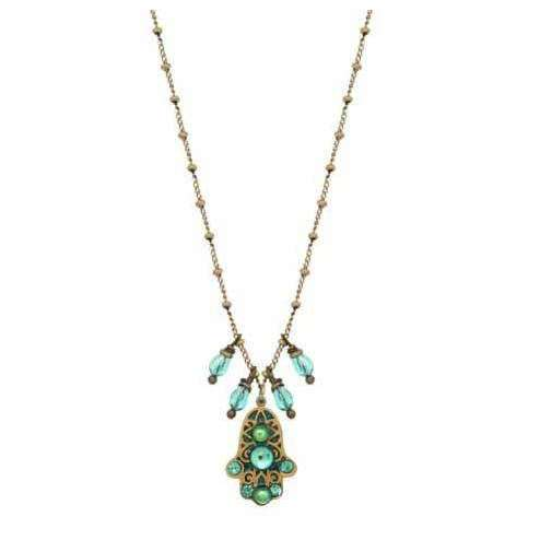 Michal Golan Tiny Green Hamsa Necklace