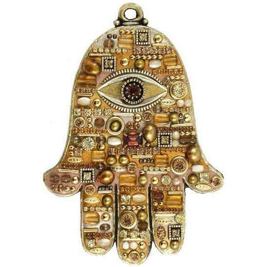 Michal Golan Topaz and Mother of Pearl Wall Hamsa