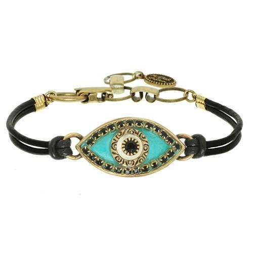 Michal Golan Turquoise and Black Evil Eye Bracelet on Leather