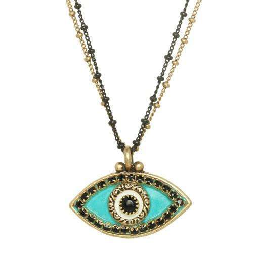 Michal Golan Turquoise and Black Evil Eye Necklace on Double Chain