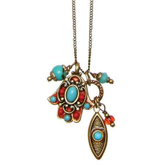 Michal Golan Turquoise and Coral Hamsa and Evil Eye Cluster Charm Necklace