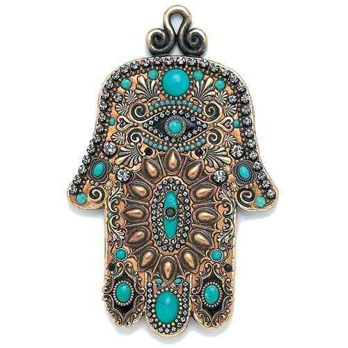 Michal Golan Turquoise and Gold Evil Eye Wall Hamsa