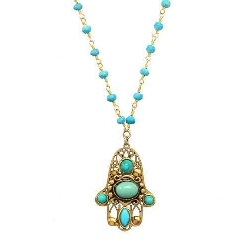 Michal Golan Turquoise and Gold Hamsa Necklace