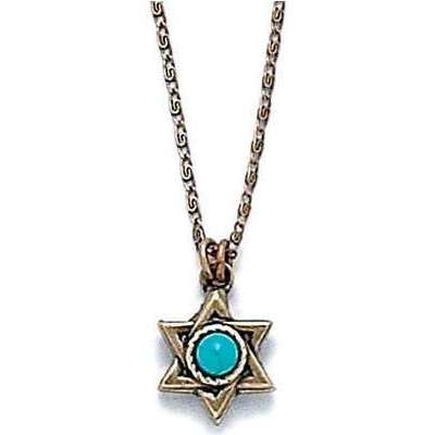 Michal Golan Turquoise and Gold Star of David Necklace