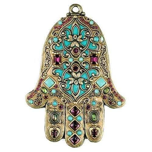 Michal Golan Turquoise and Gold Wall Hamsa