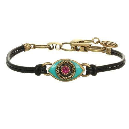 Michal Golan Turquoise and Pink Evil Eye Bracelet on Leather