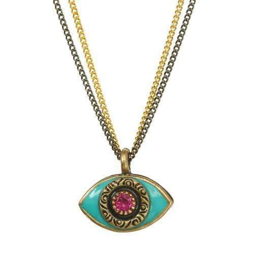 Michal Golan Turquoise and Pink Evil Eye Double Strand Necklace