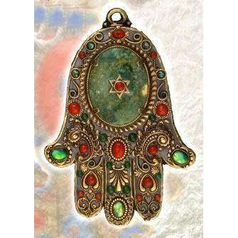 Michal Golan Turquoise and Red Jasper Wall Hamsa