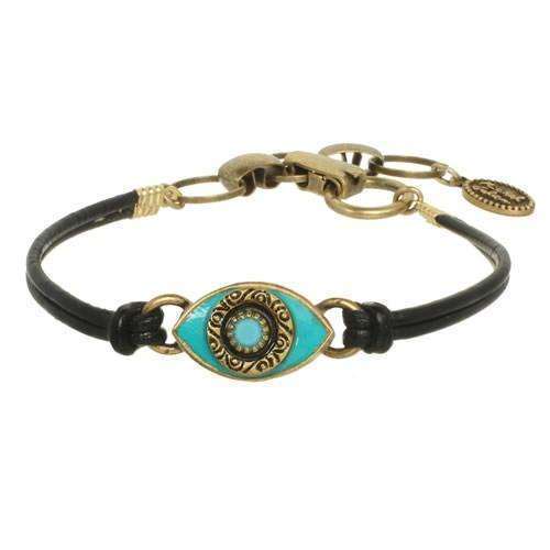 Michal Golan Turquoise Evil Eye Black Leather Bracelet