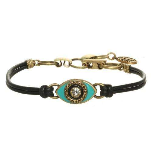 Michal Golan Turquoise Evil Eye Bracelet on Leather