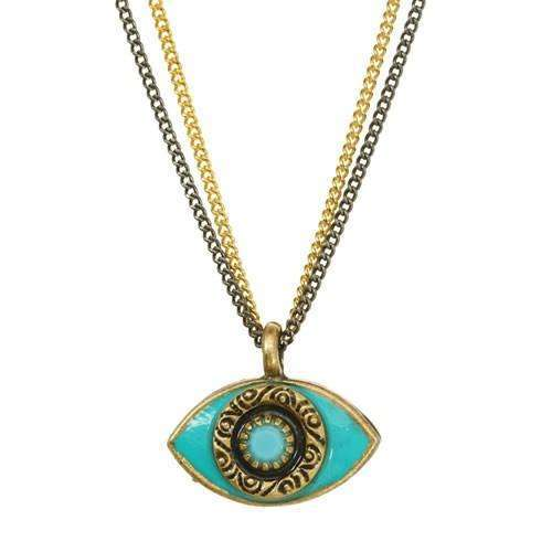 Michal Golan Turquoise Evil Eye Double Strand Necklace