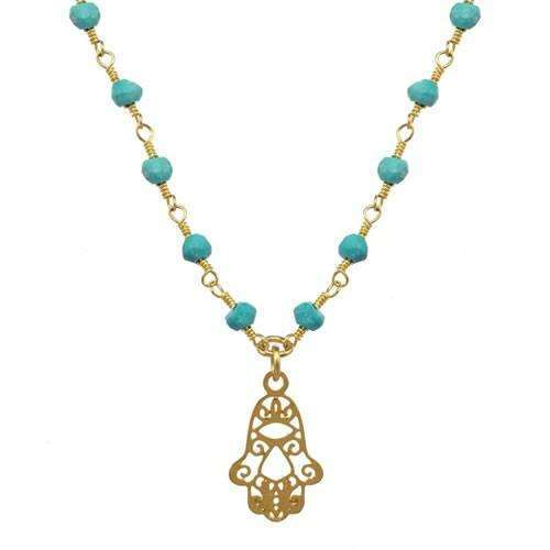 Michal Golan Turquoise Filigree Hamsa Necklace