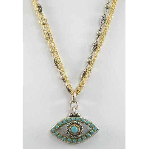 Michal Golan Turquoise, Gold and Silver Evil Eye Pendant Necklace