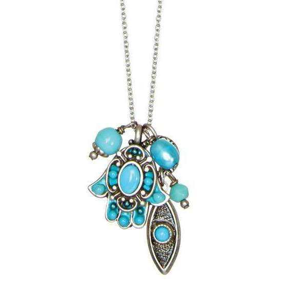 Michal Golan Turquoise Hamsa and Evil Eye Cluster Charm Necklace