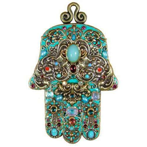 Michal Golan Turquoise Ornate Wall Hamsa