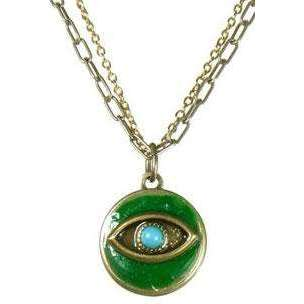 Michal Golan Turquoise Stone and Emerald Evil Eye Round Pendant Necklace