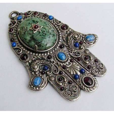 Michal Golan Wall Hamsa with Sodalite, Turquoise and Garnet
