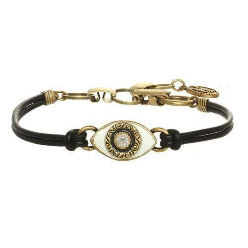 Michal Golan White and Crystal Evil Eye Bracelet on Leather