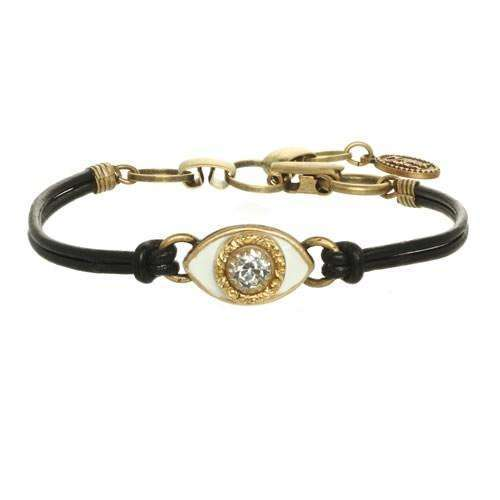 Michal Golan White Evil Eye Bracelet on Leather