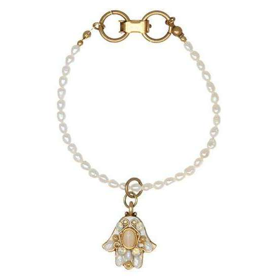 Michal Golan White Pearl Hamsa Dangle Bracelet