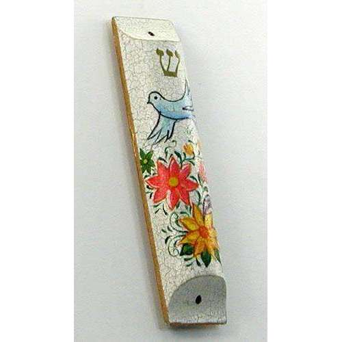 Moshe Monzon Dove and Flowers Mezuzah