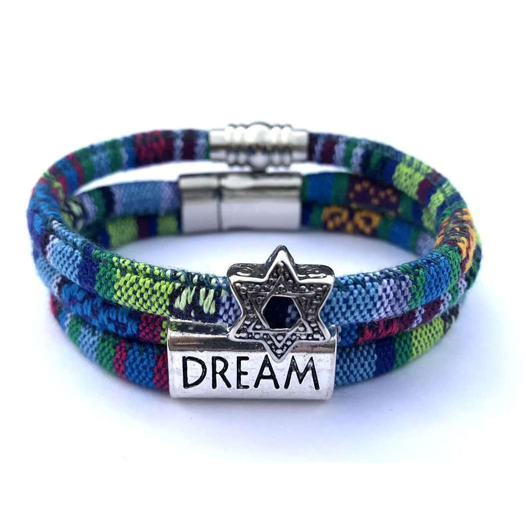 My Tribe Cool Greens and Blues Dream/Star of David Bracelet