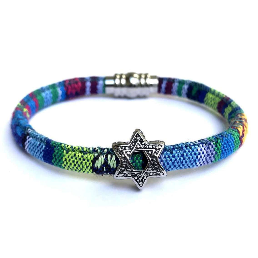 My Tribe Cool Greens and Blues Star of David Bracelet