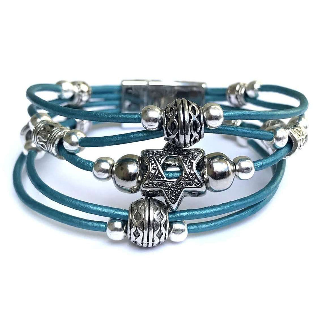 My Tribe Metallic Teal Leather Woven Star of David Bracelet