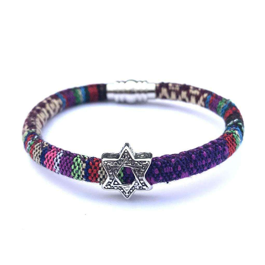 My Tribe Mixed Purple Star of David Bracelet
