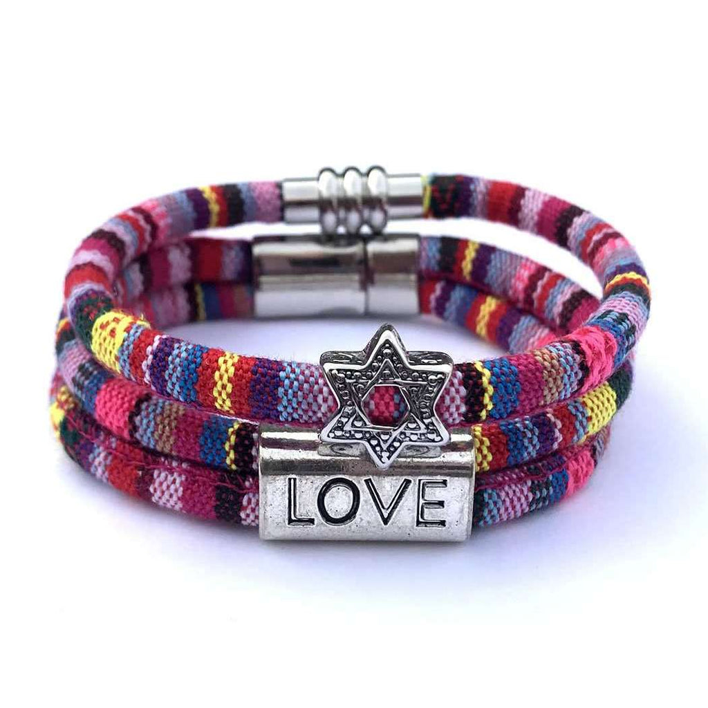 My Tribe Pretty in Pink Love/Star of David Bracelet