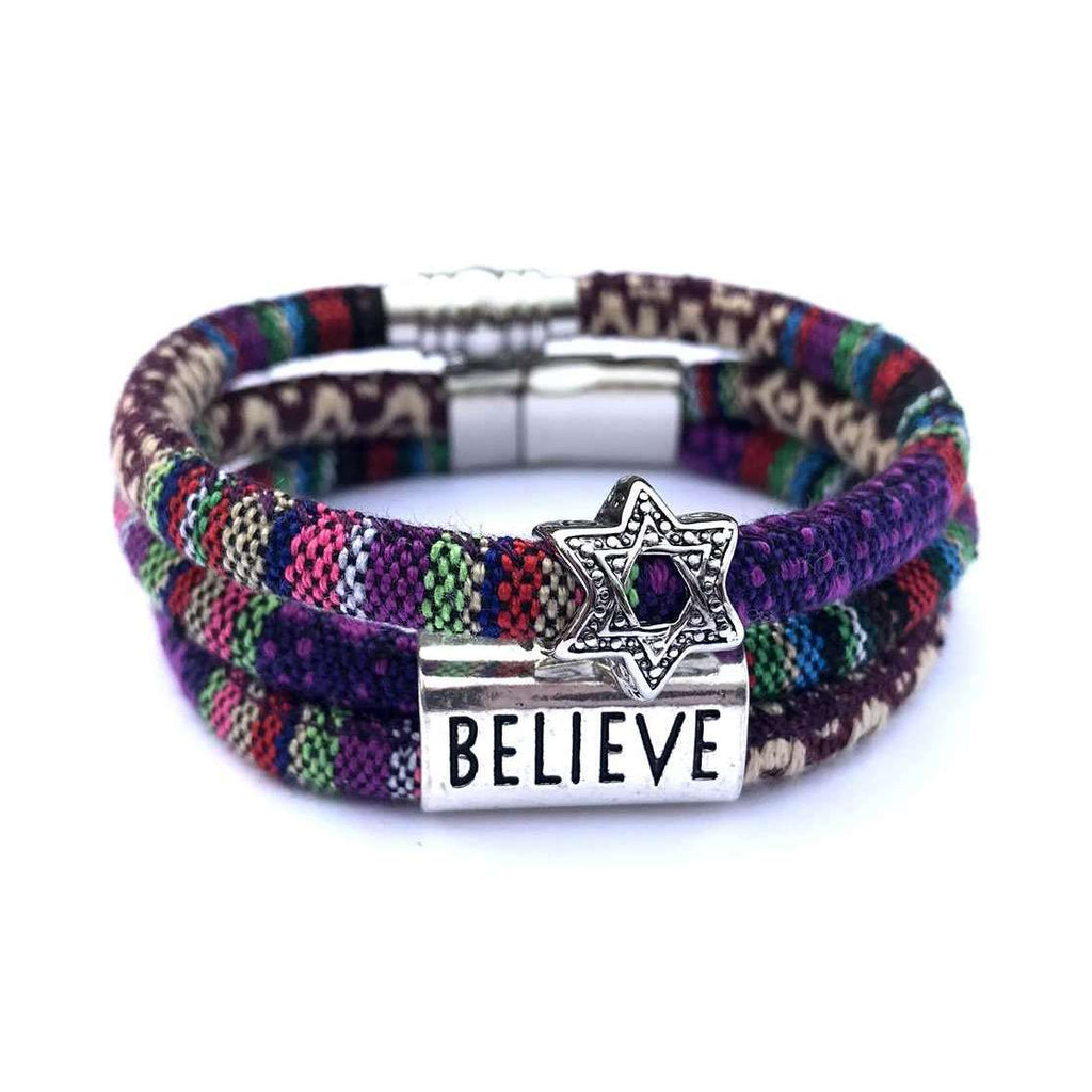 My Tribe Purple Believe/Star of David Bracelet