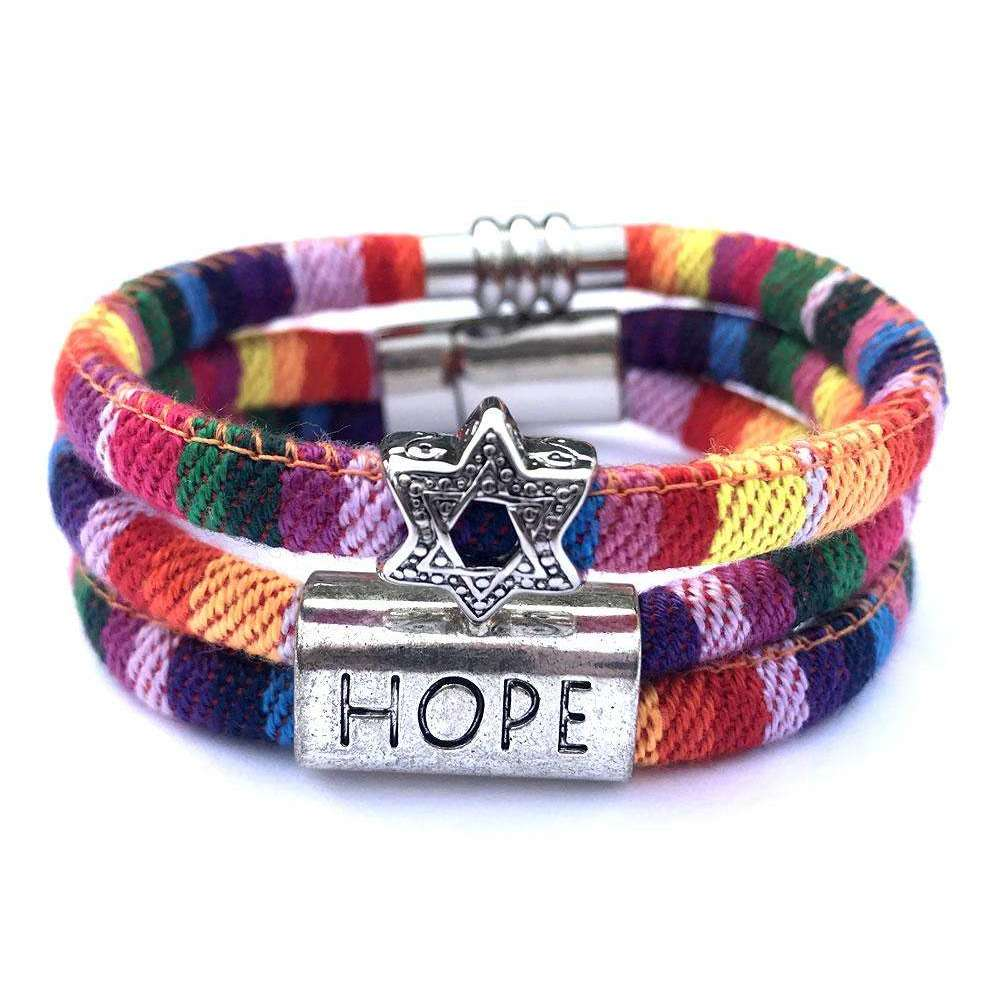 My Tribe Rainbow Hope/Star of David Bracelet