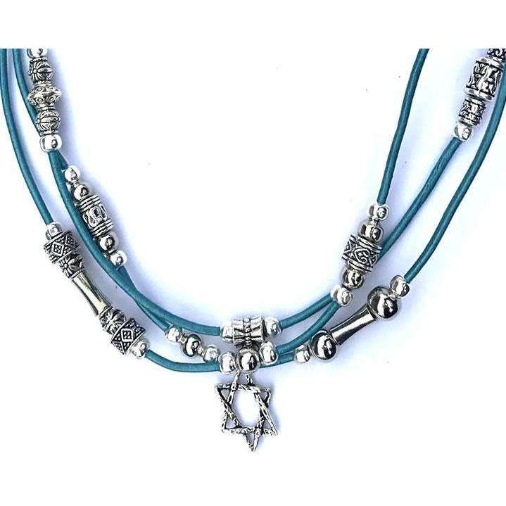 My Tribe Triple Strand Metallic Teal Leather Woven Star of David Necklace