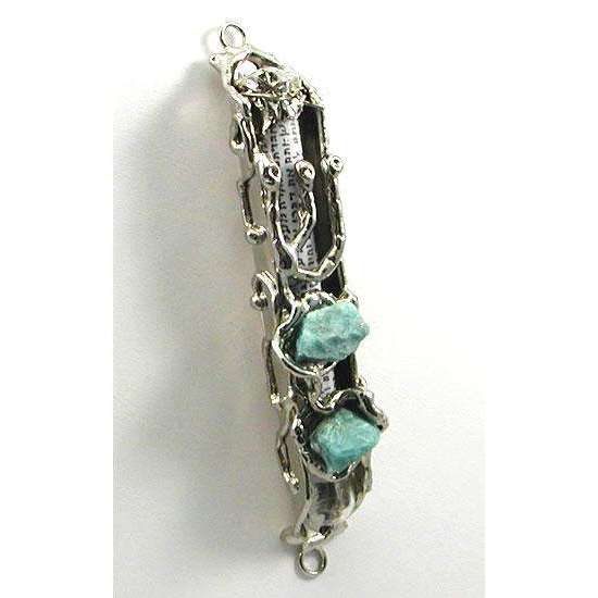 Nef Judaica Silver Mezuzah with Amazonite Stones
