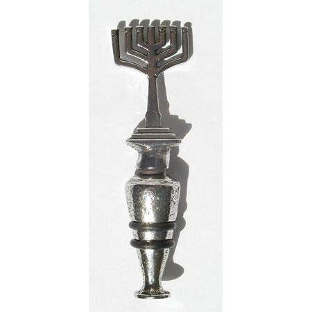 Patrick Meyer Pewter Wine Stopper with Menorah Finial