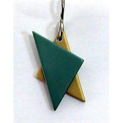 Q3 Art Green and Gold Star of David Earrings