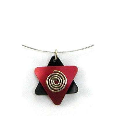 Q3 Art Modern Red and Black Star of David Necklace
