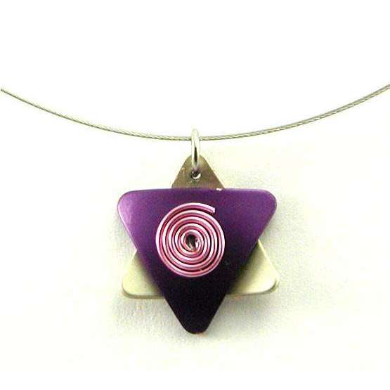 Q3 Art Purple and Silver Star of David Necklace