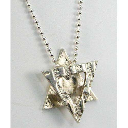Rachel Miller Open Three Dimensional Silver Star of David Necklace With Heart