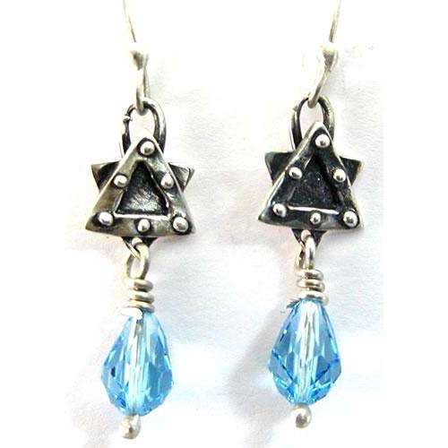 Rachel Miller Star of David Earrings with Blue Crystal