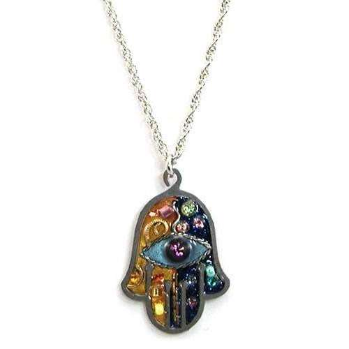 Seeka Blue and Gold Hamsa Necklace with Evil Eye